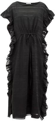 Araks Yana Ruffled Striped Cotton-blend Maxi Dress - Womens - Black