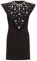 Christopher Kane Crystal-overlay Crepe Mini Dress - Womens - Black