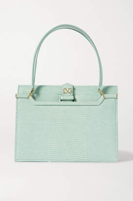 Dolce & Gabbana Ingrid Lizard-effect Leather Tote - Blue