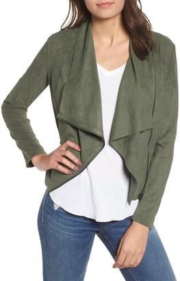 Blanknyc Denim Faux Suede Drape Front Jacket (Regular & Plus)
