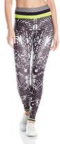 Pink Lotus Women's Floral Burst Locate Printed Legging with Contrast Band