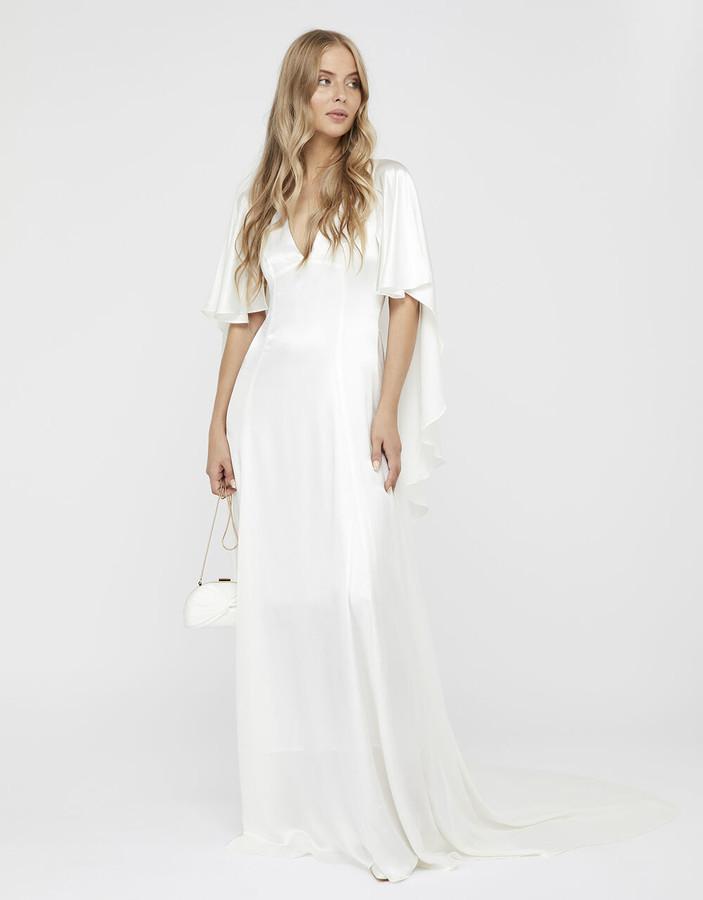Under Armour Vera Bridal Satin Cape Maxi Dress Ivory
