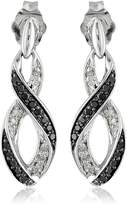 Amazon Collection Sterling Ribbon Black and White Diamond Earrings (1/5 cttw, I-J Color, I2-I3 Clarity)