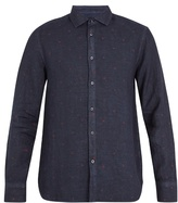 120% Lino Point-collar Fil Coupé Linen Shirt