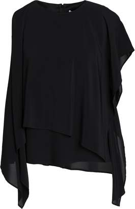 Chalayan Draped Layered Crepe And Chiffon Blouse