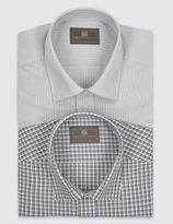 Marks and Spencer 2 Pack Easy to Iron Hairline Checked shirts