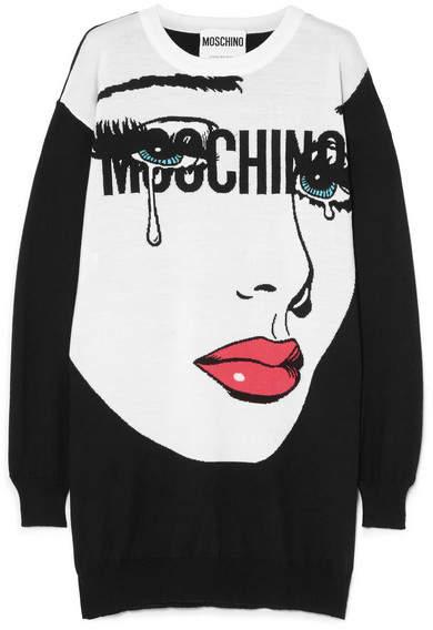 Moschino Intarsia Wool Mini Dress - Black