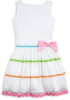 Us Angels Girls' Rickrack Trimmed Mesh Dress - Sizes 2-6X