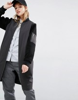 NATIVE YOUTH Longline Bomber Jacket With Contrast Sleeves