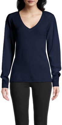 Nicole Miller Cashmere Puff Sleeve V Neck Sweater