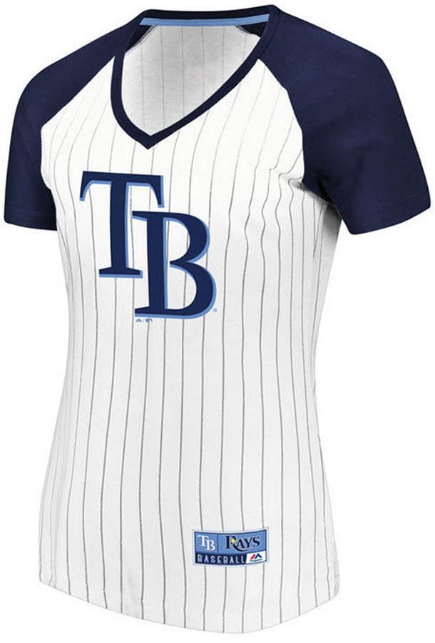 Majestic Women Tampa Bay Rays Every Aspect Pinstripe T-Shirt