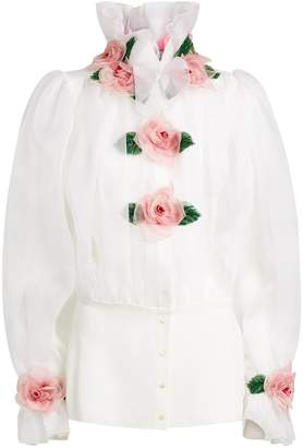 Dolce & Gabbana Silk Floral Applique Blouse