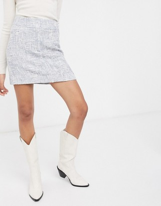 And other stories & tweed a-line mini skirt in blue