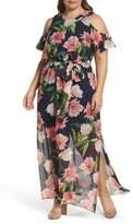 Eliza J Plus Size Women's Floral Chiffon Cold Shoulder Maxi Dress