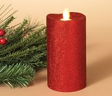 "Gerson PREMIUM 3"" x 6"" Red Glitter Dancing Motion Flame LED Christmas Holiday Pillar Wax Candle ~ Battery Operated with Timer ~ Flameless ~ Vanilla Scent"