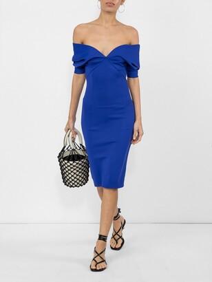 Haider Ackermann v-neck fitted dress blue