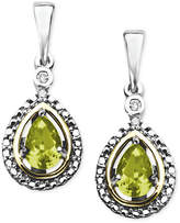 Macy's 14k Gold and Sterling Silver Earrings, Peridot (7/8 ct. t.w.) and Diamond Accent Teardrop Earrings