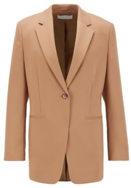 HUGO BOSS Oversized Fit Jacket In Stretch Virgin Wool Twill - Light Brown