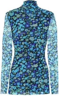 Ganni Floral mesh turtleneck top