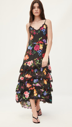 Marchesa Sleeveless Ruffle Tiered Maxi Dress