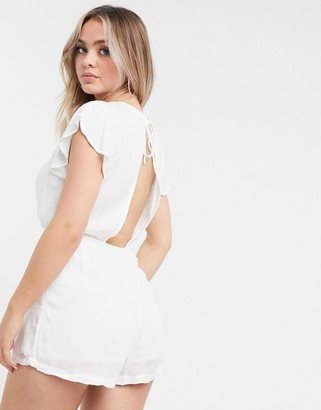 Volcom button through playsuit in white