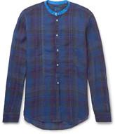 Massimo Alba - Grandad-collar Madras-checked Washed-linen Shirt