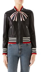 Gucci Bow Leather Bomber Jacket