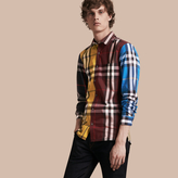 Burberry Colour Block Check Cotton Blend Shirt