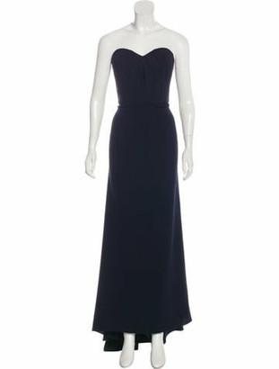 Oscar de la Renta Strapless Virgin Wool-Blend Gown Navy