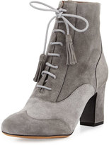 Tabitha Simmons Afton Suede Lace-Up Bootie, Gray