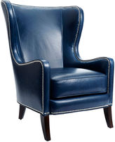 Massoud Furniture Dempsey Wingback Chair, Navy Leather
