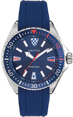Nautica Men NAPCPS901 Crandon Park Blue/Silver Silicone Strap Watch