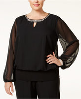 MSK Plus Size Embellished Keyhole Blouson Top