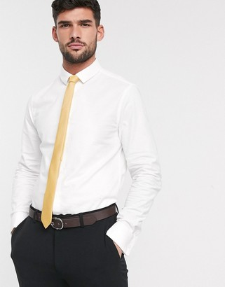 Asos Design DESIGN smart stretch slim fit oxford shirt with double cuff-White