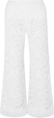 Adam Lippes Cropped Cotton-blend Corded Lace Wide-leg Pants