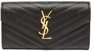 Saint Laurent logo Quilted-leather Continental Wallet - Black