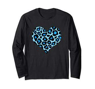 Womens Funny Cheetah Print Heart Long Sleeve T-Shirt