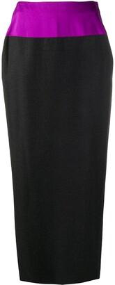 Gianfranco Ferré Pre-Owned 1990s Contrasting Panel Midi Pencil Skirt