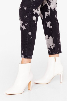 Nasty Gal Womens Heel Good Music Faux Leather Ankle Boots - White - 3