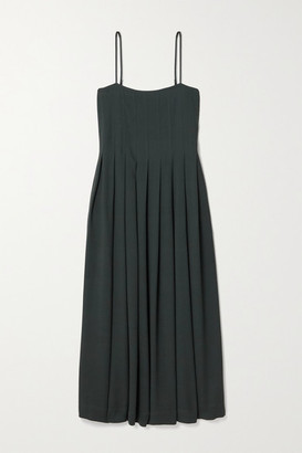 Three Graces London Lucia Pleated Crepe Midi Dress - Dark green