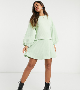 NATIVE YOUTH oversized smock dress in diamond quilting
