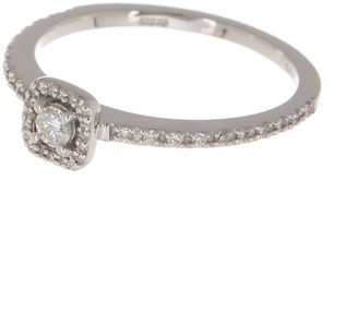 Breuning 14K White Gold Diamond Pave Square Halo Diamond Ring - 0.22 ctw