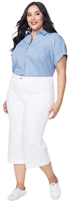 NYDJ Plus Size Plus Size Wide-Leg Capri Jeans with Utility Pockets in Optic White (Optic White) Women's Jeans