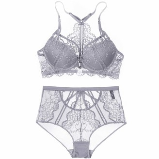 MGIGI Floral Lace Lingerie Front Closure Bra Set Backless Underwear Push Up Brassiere Sexy High-Waist Panties for Women Gray 80B