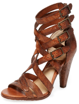 Frye Mika Strappy Embossed Leather Sandal