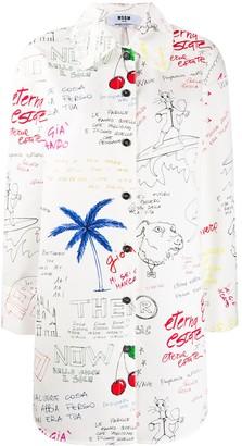 MSGM Graffiti Print Shirt Dress