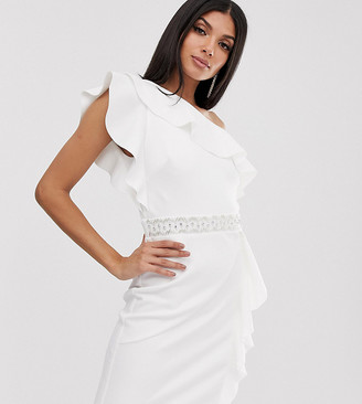 TFNC Tall Tall one shoulder ruffle mini dress with embellished waistband-White