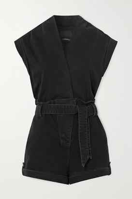 RtA Kahtia Belted Denim Playsuit - Black