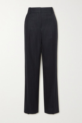 Victoria Beckham Pinstriped Wool-twill Straight-leg Pants - Navy