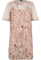 River Island Womens Pink mesh embroidered T-shirt dress